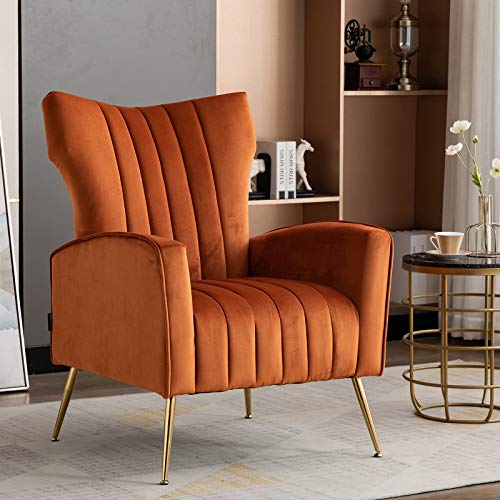 Artechworks Curved Tufted Accent Chair with Metal Gold Legs Velvet Upholstered Arm Club Leisure Modern Chair for Living Room Bedroom Patio, Caramel Color, Orange