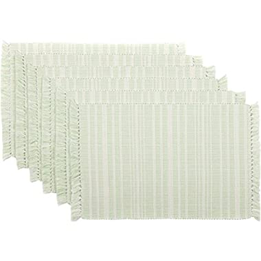 VHC Brands Coastal Farmhouse Tabletop & Kitchen-Madeline Green Ribbed Placemat Set of 6, One Size, Mint