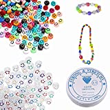 200Pcs Smiley Face Beads Acrylic Happy Face Cute Spacer Beads with Stretch Bead Cord String for DIY Jewelry Making Necklace Waist Chains Earring Bracelets Craft Making Supplies