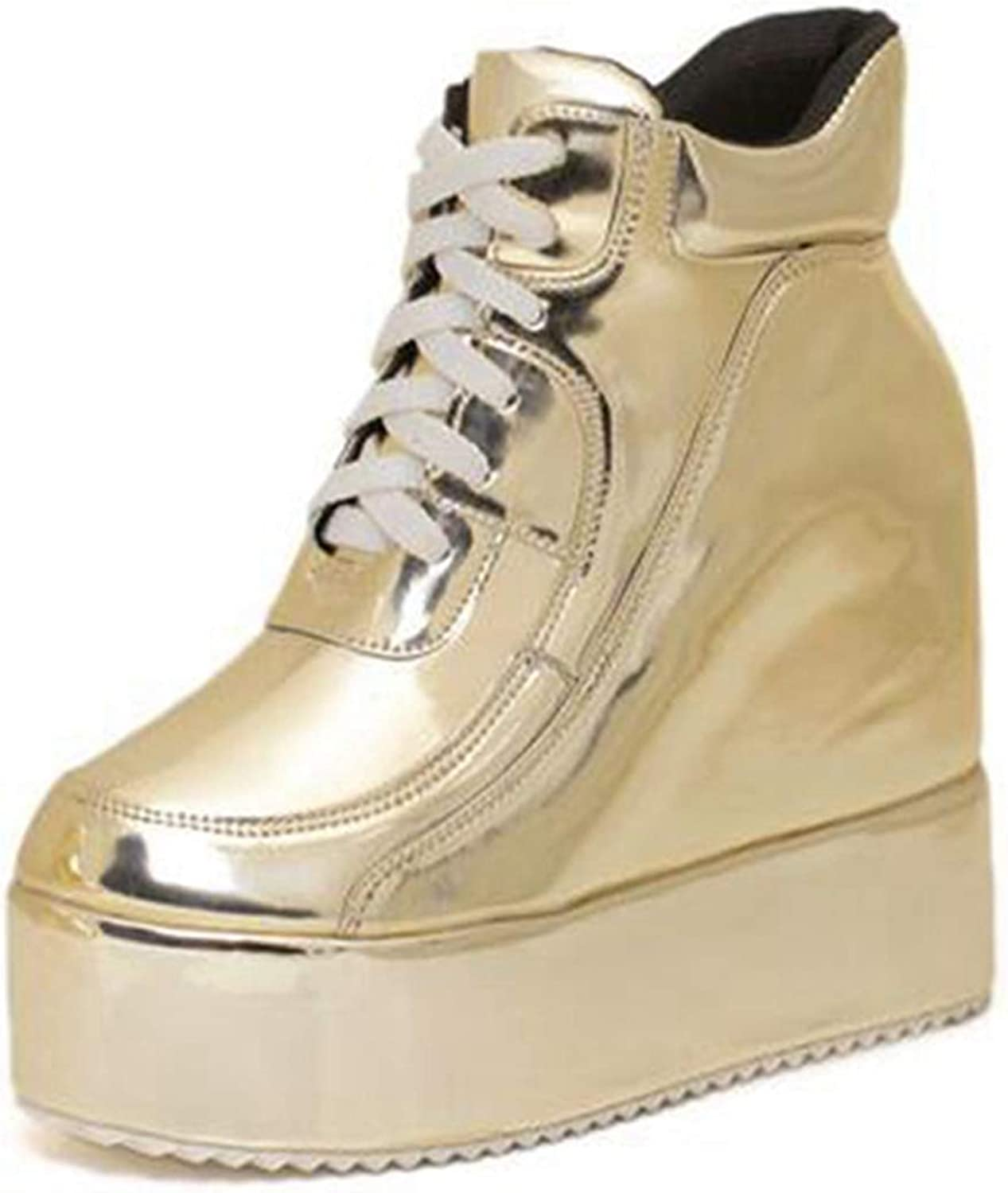 DOSOMI Women Hidden Wedge Sneakerss Platform Patent Leather Lace Up Casual Ankle Martin Boots