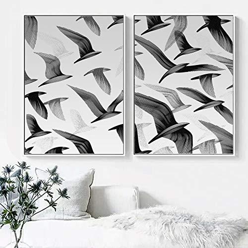 fdgdfgd Efectos visuales Pintura Abstracta de la línea del pájaro Arte de la Pared Mural Animal nórdico decoración de la Pared de la Sala de Estar Pintura Cartel Pintura de la Lona