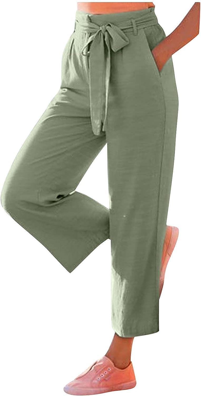 BEUU Women's Drawstring Linen Cropped Pants Women Summer Elastic Waist Soft Cotton Pants Lightweight Palazzo Pants