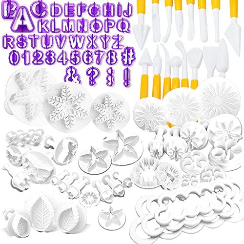 Nuyoah Fondant Ausstecher Set Kuchen Torten Zubehör 87tlg Backen Ausstechformen mit Buchstaben Modellierwerkzeug Rose Blume Formen Set Fondant Auswerfer Stempel für Torten Deko