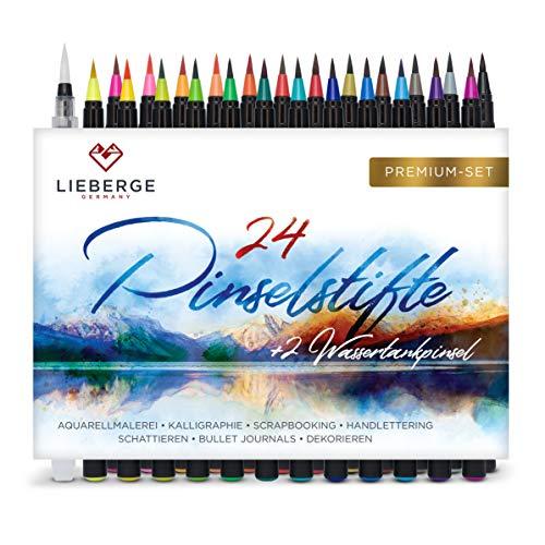 LIEBERGE Pinselstifte Premium-Set - 24 Aquarellfarben + 2 Wassertankpinsel - Brush Pen mit Flexibler Pinselspitze für Aquarell, Hand Lettering, Bullet Journal, Kalligraphie