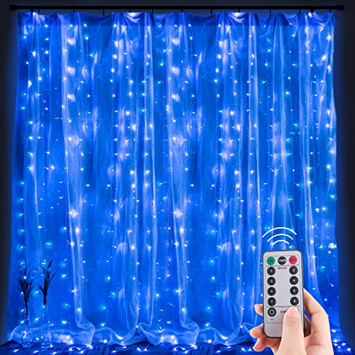 Window Curtain Lights,300 LEDs 9.8 Ft Dimmable & Connectable with Remote to Set 8 Lighting Modes & Timer for Bedroom Wall Party Indoor Outdoor Decorate String Lights, Blue(No Curtain)