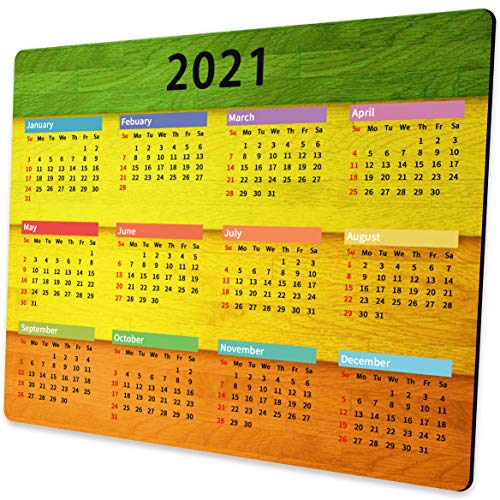 Shalysong Colorful Wooden Texture 2021 Calendar Mouse pad Personalized Designs Non-Slip Rubber Mouse Pads for Computer Laptop