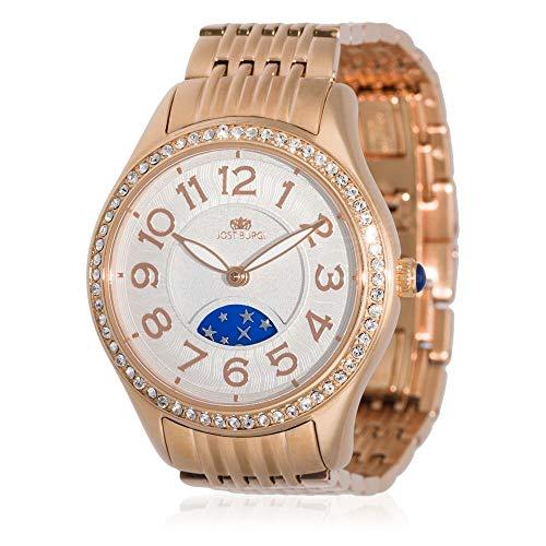 Reloj Jost Burgi para mujer de cuarzo, 33 mm, esfera blanca, correa de acero rosa, HB4A13C3BM3