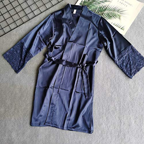 Frauen Seidensatin kurze Nacht Robe Kimono Robe Sexy Spitzenbesatz Bademantel Peignoir Braut Brautjungfer Robe Mode Bademantel -navy blue-2-M