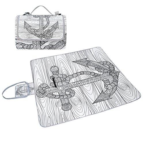 COOSUN Anker und Seil Box Picknick-Decke mit Matte Schimmel resistent und wasserdicht Camping-Matte für rving, Picknickdecke, Strand, Wandern, Reisen und Ausflüge
