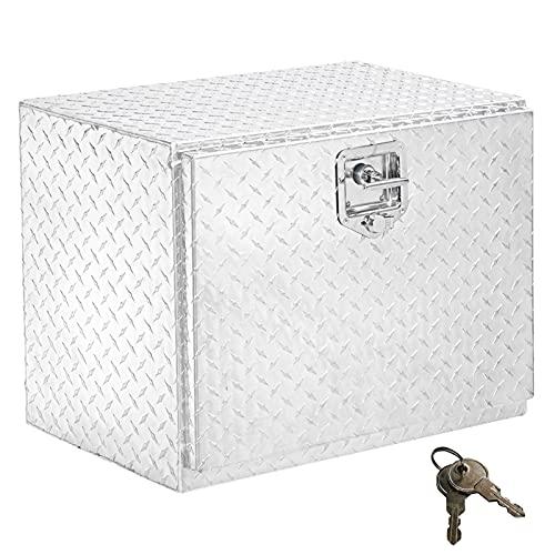 TUFFIOM 24 inch Heavy Duty Aluminum Truck Tool Box, Trailer Pickup ATV Truck Bed Storage Toolboxes w/Lock & 2 Keys (24 inch)