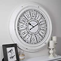 FirsTime & Co. 29 Inch Farmhouse Plaques Wall Clock (Antique White)