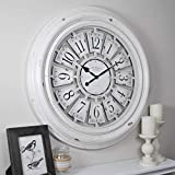 FirsTime & Co. Farmhouse Plaques Wall Clock, 29', Antique White