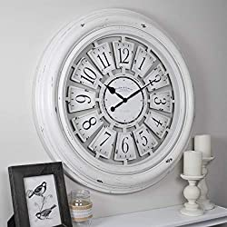 FirsTime & Co. Farmhouse Plaques Wall Clock, 29, Antique White