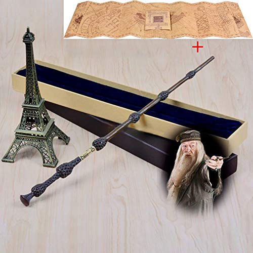 FSYG La Nobile Collezione Harry Potter Hermione Granger Wand Lord Voldemort Lord Voldemort Professor Silente Pittura Leggera con Replica Ollivanders Box e Marauders Map Collectible,C