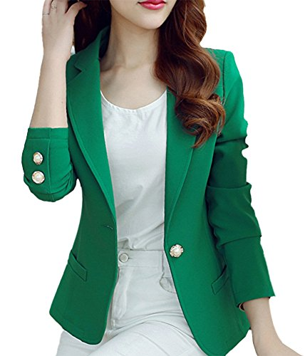 HaoMing Fashion Casual Work Blazer Office Jacket Lightweight for Women and Juniors #5 Green L
