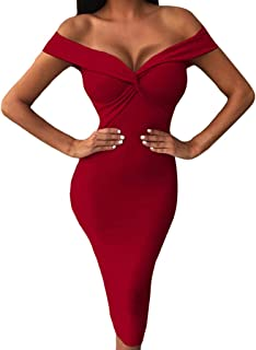 es for Women, Spring Summer Casual Bodycon Off Shoulder Sexy V-Neck Knee-Length Party Clubwear Dress Wholesale sexcy Beige Jackets Ballroom Place iclothing boutiques