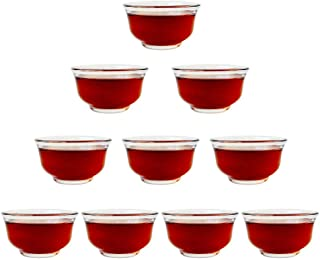 Teacups 1.3oz/40ml Clear Borosilicate Insulated Glass kung Fu Tea Cups for Drinking Tea, Wine whisky Liquor and Spirits Water,Set of 10