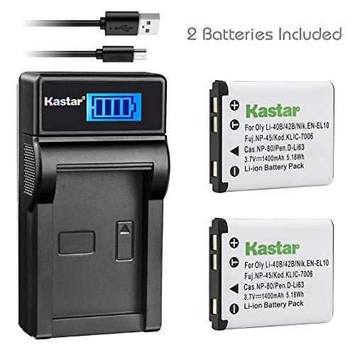 Kastar Battery (X2) & LCD Slim USB Rapid Charger for Olympus LI-42B LI-40B, Fujifilm NP-45, Nikon EN-EL10, Kodak KLIC-7006 K7006, Casio NP-80 CNP80, D-Li63, D-Li108, Ricoh DS-6365 Battery.