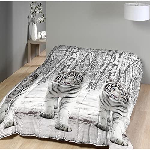 Couette imprimée Tigre Blanc, 200x200cm, 550gr/m² Chaude, Toucher Peau de pêche, 100% Microfibre