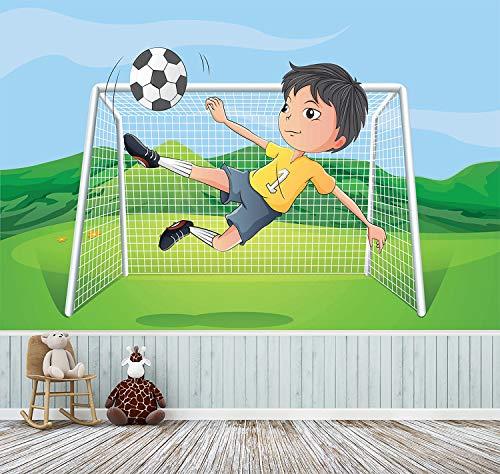 Kindertapete selbstklebend | Kicker Cartoon | in 225x150 cm | Kindertapete Tapete Wand-deko Dekoration Kinderbild Kinderzimmer Jungs