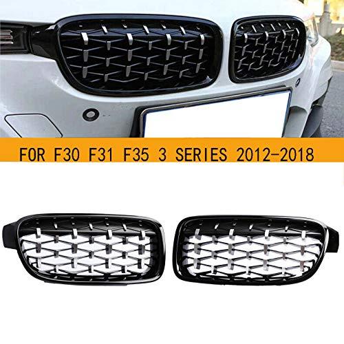 GSRECY Für F30 F31 2012-2018 3 Serie 318d 320d 330d 320i 328i 335i 335i xDrive Twin Fins Front Kindey Stoßstangengrill Grill Paar (Diamant-Schwarz glänzend)