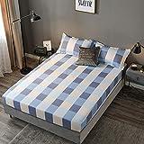 HAIBA Sábana bajera doble, 100% algodón puro con diseño extra profundo, sábanas bajeras bajeras dobles, 48 x 74 cm
