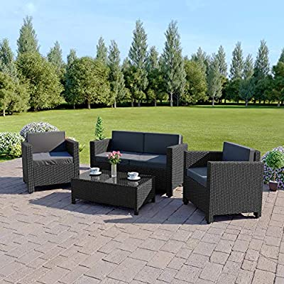 Abreo ROMA 4 Seater Outdoor Garden Rattan Furniture Patio Set Conservatory Sofa Armchair Coffee Table INCLUDES OUTDOOR PROTECTIVE RAIN COVER (Black with Dark Cushions) by ATR