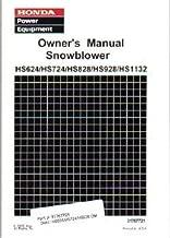 31767721 Honda HS624 HS724 HS828 HS928 HS1132 Snowblower Owners Manual