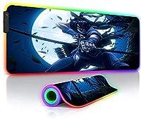 ゲーミングマウスパッド アニメドリフターズラージRGBゲーミングマウスパッドXXL、14ライトモードシューターゲーマーマウスパッドPCデスクトップマット35.4x15.7x0.16インチ