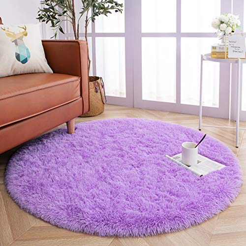 YJ.GWL Round Fluffy Area Rugs for Bedroom and Living Room Shaggy Cute Circle Nursery Carpet for Kids Baby Girls Bedroom and Dorm Fuzzy Home Decor Circular Carpet 4 Feet Purple