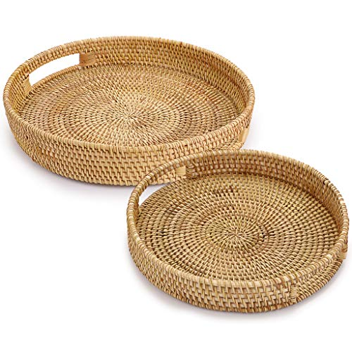 SUMNACON Set of 2 Round Rattan Woven Serving Tray Decorative Display Tray Storage Platters with Handle Table Desktop Organiser Tray for coffer,Drink,Breakfast,Tea,Candle, 30cm+ 25cm