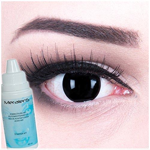 Meralens Farbige Complete Black Crazy Fun Kontaktlinsen Blind Black mit gratis Linsenbehälter + 60ml Pflegemittel Topqualität zu Fasching, Karneval und Halloween