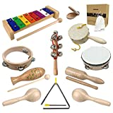 Musical Toys Set for Boys and Girls Age 1-3 Natural Wooden musical...