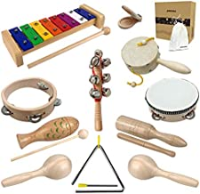 Musical Toys Set for Boys and Girls Age 1-3 Natural Wooden musical instruments for toddlers 1-3 kids percussion instrument and Preschool Educational toy, drum set for toddler and kids with Storage Bag