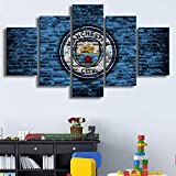 QYY Manchester City Posters Hd 5 Pieces Football Canvas