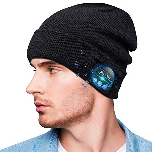 Bluetooth Beanie,Bluetooth 5.0 Beanie hat with Detachable Built-in Mic and HD Stereo Speakers for Music Lover Unique Unisex Gifts for Men/Women/Teens/Boys/Girls (Black)