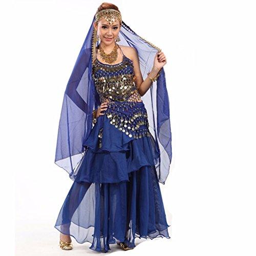 Preisvergleich Produktbild Best Dance Damen-Bauchtanzkleid,  Kostüm,  Rock und Oberteil mit Pailletten,  Perlen und Glocken,  Gürtel mit goldfarbenen Münzen