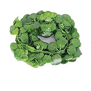 12 Strands Artificial Ivy Leaf Plants Vine Hanging Garland Fake Foliage Flowers Home Kitchen Garden Office Wedding Wall Decor,Begonia Leaves 82.67in