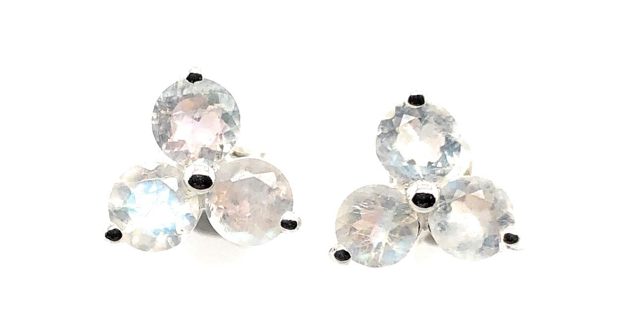Natural Rainbow Moonstone 925 Solid Earrings 7mm Sterling 40% OFF Cheap Sale Silver Free Shipping Cheap Bargain Gift