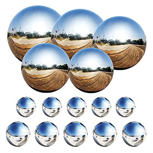 Counius 15 Stück Edelstahl Gartenkugel Spiegelpoliert Hohlkugel 25-120 mm Schwimmende Teichkugeln Silber glänzend für Hausgarten Ornament Party Dekoration