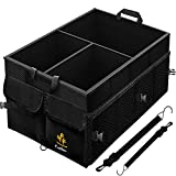 EcoNour Collapsible Car Trunk Storage Organizer | 13 Gallon Multi-Compartment Car Cargo Grocery Organizer with Non-Slip Bottom, Pockets, Adjustable Straps, Removable Dividers | Suited for all Vehicles