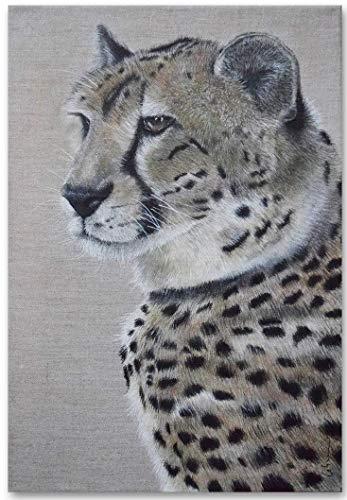 KunstPassion Acryl Gemälde 'Gepard Sultan' 30x42cm | Unikat | original handgemalte Leinwand Bilder | Tier Portrait Realismus | Wandbild Acrylbild Hyperrealismus Kunst
