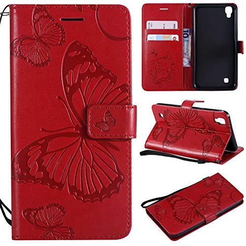 LG X Power Hülle,THRION PU Schmetterling Brieftaschenetui mit magnetischer Handschlaufe und Ständerhalterung für LG X Power, Rot