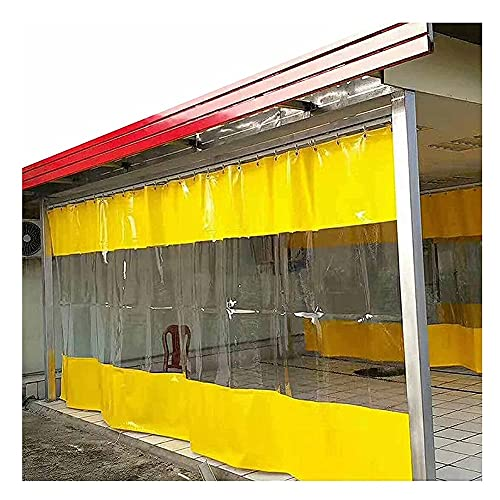 XJJUN Outdoor Clear Tarp Curtain, Waterproof Rainproof Dust-proof Partition Curtain With Rustproof Grommets, For Garden Patio (Color : Yellow, Size : 2.1x2.5m.)