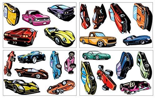 Samunshi® Wandtattoo Sportwagen Set Wandbilder Kinderzimmer Deko Junge Wandtattoo Kinderzimmer Mädchen Wandsticker Kinderzimmer 4X 16x26cm