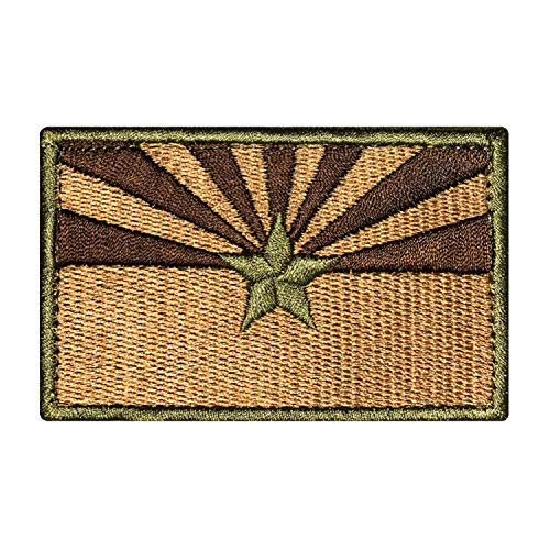 Morton Home-Tactical US Arizona State Flag Patch with Backing Decorative Embroidered Appliques 2 High by 3.2 Wide (Brown)