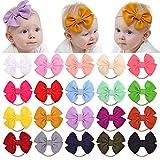 YHXX YLEN 20Pcs Baby Girl Stirnbänder und Schleifen Knoten Nylon Headwrap Haarbänder für Neugeborene Kleinkinder Kinder