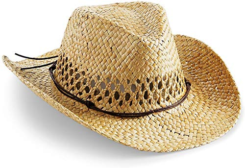 normani Cowboy Hut Strohhut mit Hutband Farbe Nature Größe 59-61