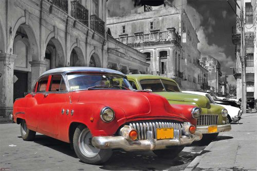 empireposter Cuba Havana - Classic Car Oldtimer Stadt Poster Plakat Druck - Grösse 91,5x61 cm