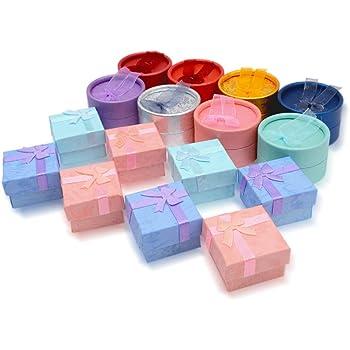 petites bo/îtes cadeau avec /éponge /à lint/érieur pour bagues emballages de bijoux NBEADS Lot de 24 bo/îtes cadeau cubique en carton couleurs m/élang/ées 5 x 5 x 4 cm
